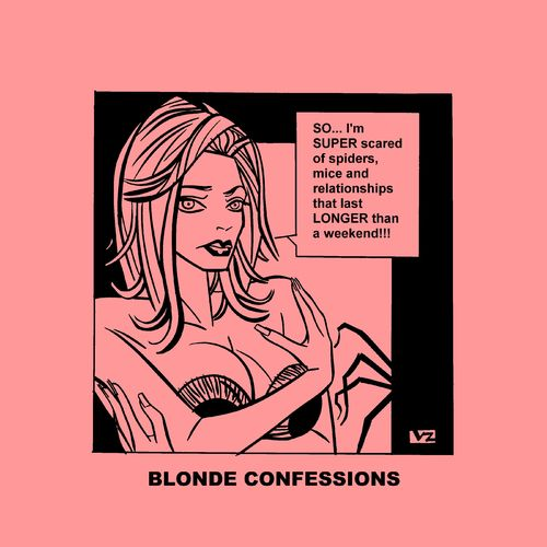 Cartoon: Blonde Confessions - SUPER scare (medium) by Age Morris tagged tags,boobs,hotbabe,dumbblonde,aboutloveandlife,agemorris,blondeconfessions,atomstyle,victorzilverberg,scared,superscared,spiders,mouse,mice,relationships,longer,weekend