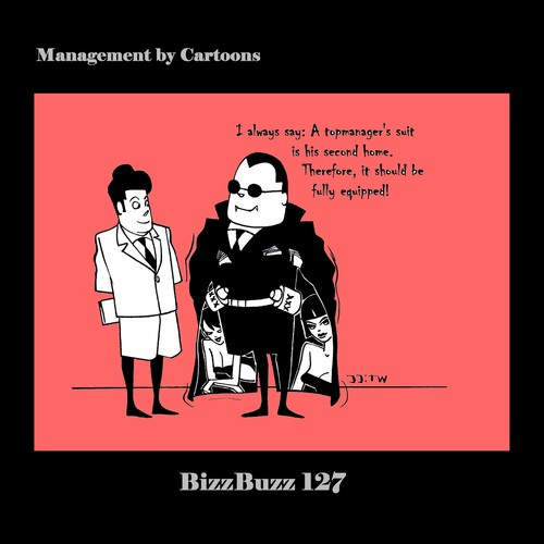 Cartoon: BizzBuzz Suit is Second Home (medium) by MoArt Rotterdam tagged officesurvival,officelife,managementbycartoons,managementcartoons,businesscartoons,bizztoons,bizzbuzz,topmanager,suit,suitissecondhome,secondhome,fullyequipped