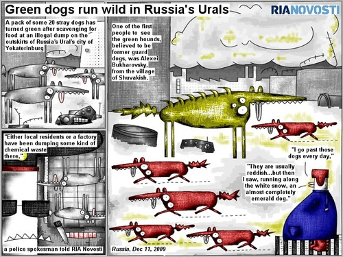 Cartoon: Green dogs run wild (medium) by bob schroeder tagged comic,webcomic,pack,dog,green,food,illegal,dump,outskirts,yekaterinburg,local,resident,factory,chemical,waste,police,spokesman,people,hound,guard,village,snow,emerald