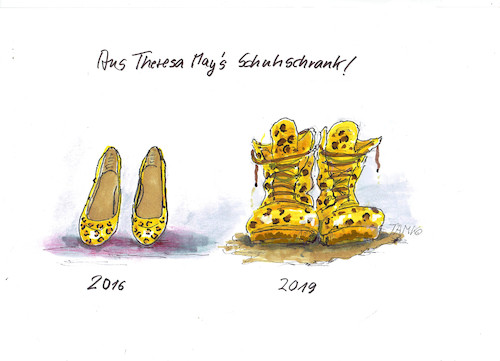 Cartoon: Theresas Schuhe (medium) by Skowronek tagged brexit,theresa,may,eu,schuhe,kampfstiefel,schlamm,schmutz,referendum,skowronek,cartoon