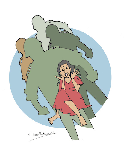 Cartoon: 28 January 2009  Sexual Violence (medium) by damayanthi tagged war,bbs,sri,lanka
