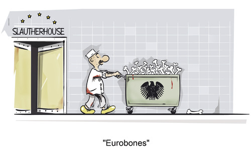 Cartoon: Es wird angerichtet! (medium) by subbird tagged eurobonds,ezb,european,central,bank,euro,rettungsschirm