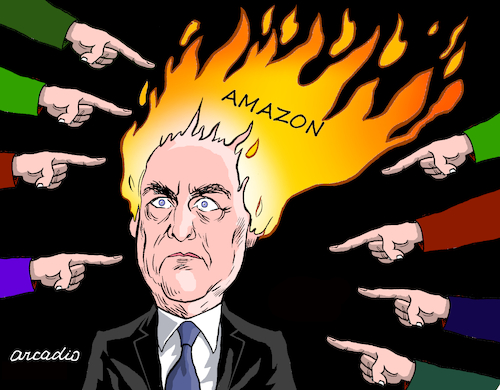 Cartoon: Bolsonaro and the fire of amazon (medium) by Cartoonarcadio tagged bolsonaro,fire,amazon,latin,america