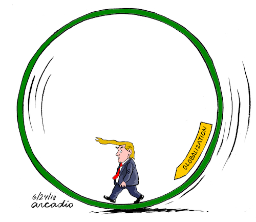 Cartoon: Globalization is real Mr. Trump. (medium) by Cartoonarcadio tagged trump,fre,trade,us,president,government