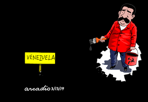 Cartoon: Maduro paints all with dark. (medium) by Cartoonarcadio tagged venezuela,maduro,latin,america,south