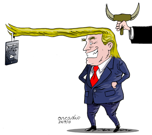 Cartoon: Presidential selfie. (medium) by Cartoonarcadio tagged trump,selfie,us,government