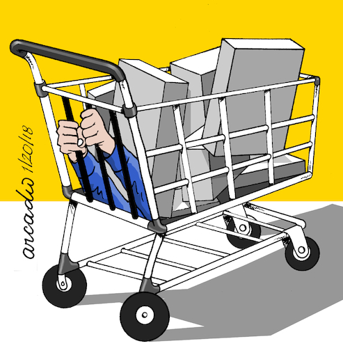 Cartoon: Prisioner of consumerism. (medium) by Cartoonarcadio tagged consumerism,shoping,free,market,economy