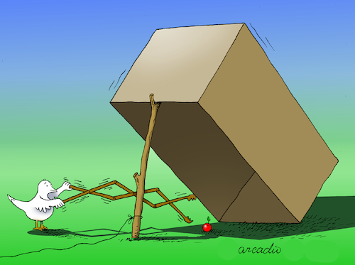 Cartoon: The trap and the smart bird. (medium) by Cartoonarcadio tagged bird,trap,humor,enterteinment,the