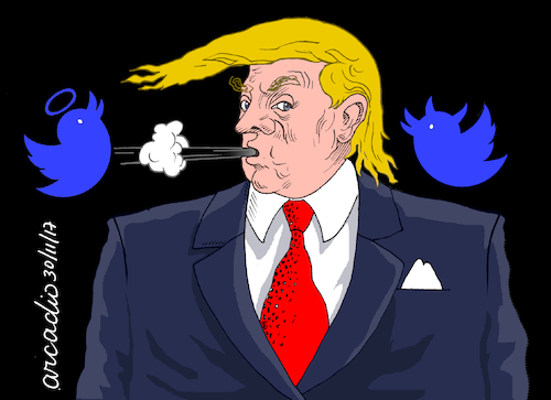 Cartoon: Trump tweets. (medium) by Cartoonarcadio tagged trump,twitter,us,government,president,america