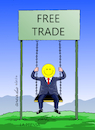 Cartoon: Free Trade and Happiness. (small) by Cartoonarcadio tagged free,trade,happiness,economy,finances,money