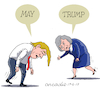 Cartoon: May and Trump in hard times (small) by Cartoonarcadio tagged may,trump,england,america,brexit,fbi,russia