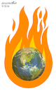 Cartoon: Our planet into the fire. (small) by Cartoonarcadio tagged mother,earth,climate,change,planet