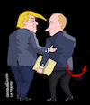 Cartoon: Trump giving info to Putin. (small) by Cartoonarcadio tagged putin,trump,usa,russia,information,top,secret