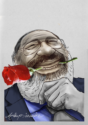 Cartoon: umberto eco (medium) by oktaybingöl tagged umberto,eco,oktay,bingol