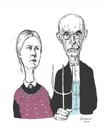 Cartoon: American Gothic caricature (medium) by Harbord tagged american,gothic,grant,wood,caricature