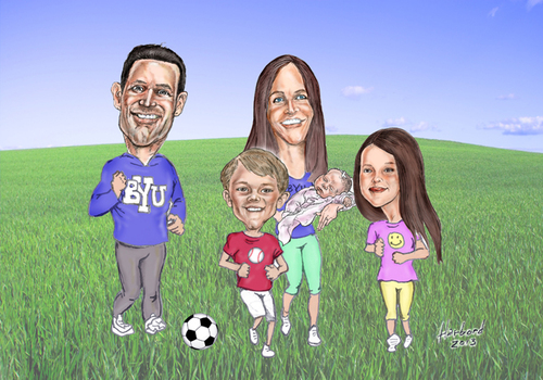 Cartoon: BYU Family Jogging (medium) by Harbord tagged family,active,soccer,byu,jogging