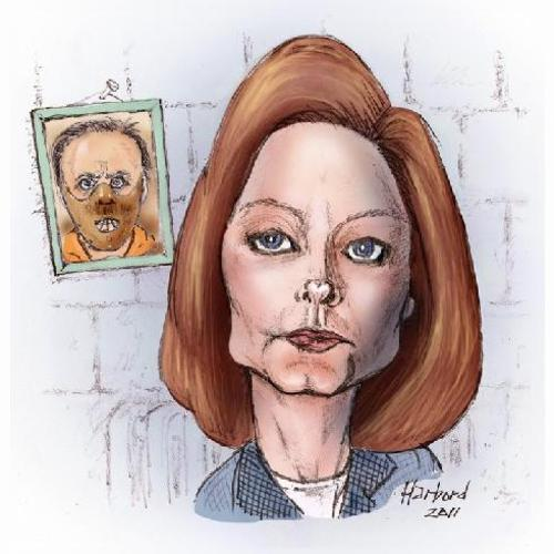 Cartoon: Jodie Foster caricature (medium) by Harbord tagged jodie,foster,hannibal,silence,of,the,lambs