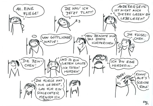Cartoon: Lebensphilosophie (medium) by Any tagged leben,tod,moral,tiere,fliege