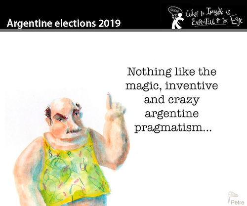 Cartoon: Argentine Elections 2019 (medium) by PETRE tagged argentina,elections,democracy,parties