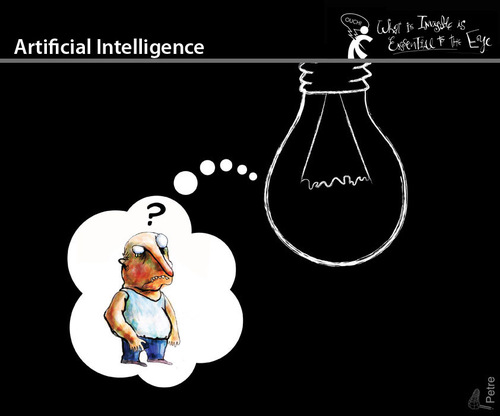 Cartoon: Artificial Intelligence (medium) by PETRE tagged toughts
