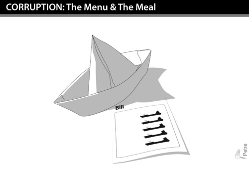 Cartoon: CORRUPTION The Menu and The Meal (medium) by PETRE tagged corruption,economy,taxes,the