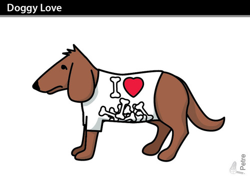 Cartoon: Doggy Love (medium) by PETRE tagged bones,love,tshirts,dogs