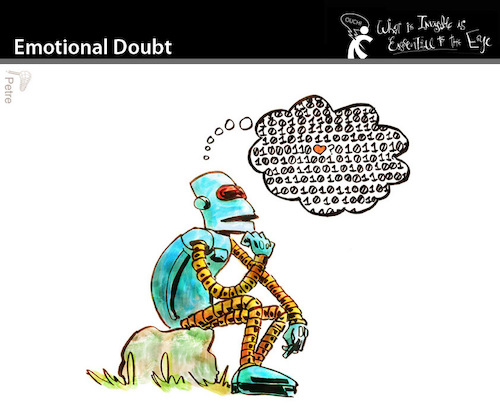 Cartoon: Emotional Doubt (medium) by PETRE tagged artificial,intelligence,thoughts