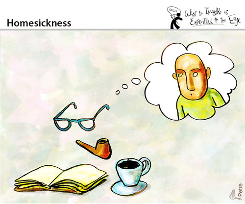 Cartoon: Homesickness (medium) by PETRE tagged thoughts,visions,readers