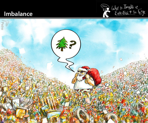 Cartoon: Imbalance (medium) by PETRE tagged christmas,santa,gifts,pollution