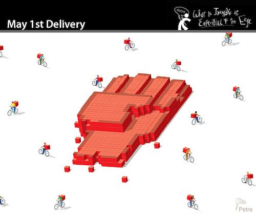 Cartoon: May 1st. Delivery (medium) by PETRE tagged workers,work,workersday