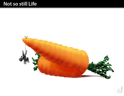 Cartoon: NOT SO STILL LIFE (medium) by PETRE tagged volonty,wisdom,decisions,targets,carrots,donkey,suggestions
