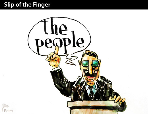 Cartoon: SLIP OF THE FINGER (medium) by PETRE tagged people,politicians