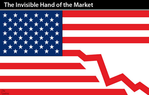Cartoon: The Invisible Hand of Market (medium) by PETRE tagged market,free,capitalism,crisis,financial