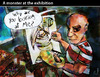 Cartoon: A monster at the exhibition (small) by PETRE tagged exhibitions painting modern art picasso