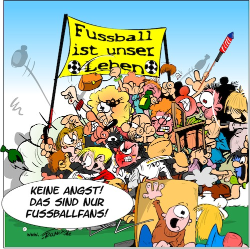 Cartoon: Fussballfans (medium) by Trumix tagged fussball,fan,krawalle,hooligans,schlacht,fussball,fan,krawalle,hooligans,schlacht