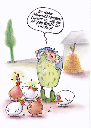 Cartoon: gender chicken (medium) by Petra Kaster tagged women,career,gender,business,chicken,coaching,women,career,gender,business,chicken,coaching
