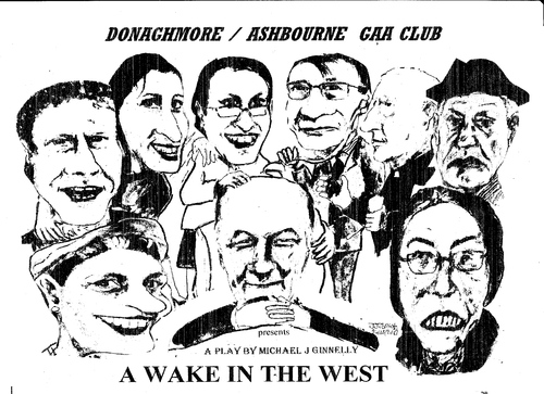 Cartoon: A Wake in the West (medium) by jjjerk tagged wake,in,the,west,michael,ginnelly,barry,cartoon,caricature,play,irish,ireland