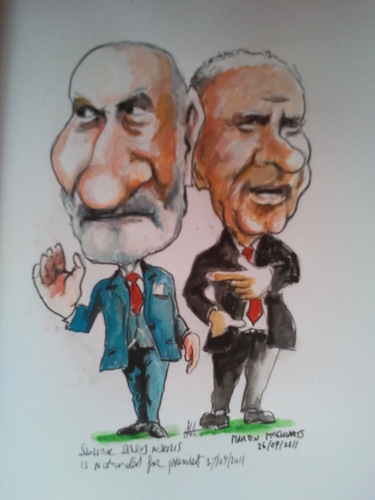Cartoon: David and Martin (medium) by jjjerk tagged david,norris,martin,mcguinness,election,president,ireland