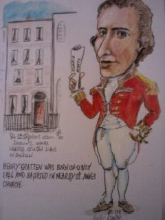 Cartoon: Henry Gratten (medium) by jjjerk tagged henry,gratten,irish,politician,dublin,cartoon,caricature,1798,rebellion,ireland,red,scroll,house,saint,stephens,green,claims,rights,parliamont