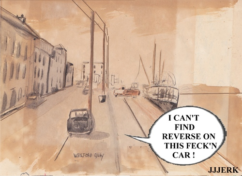 Cartoon: I cant find reverse (medium) by jjjerk tagged wexford,cartoon,caricature,shipping,ireland,boat,crane,lorry,1963