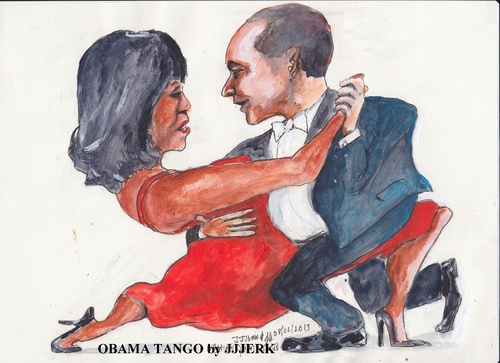 Cartoon: Obama tango (medium) by jjjerk tagged obama,president,michelle,wife,husband,cartoon,caricature,red,united,states,dance,tango