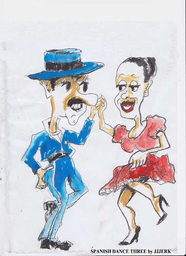 Cartoon: Spanish dance Tthree (medium) by jjjerk tagged spain,cartoon,caricature,dancers,dance,red,blue,hat