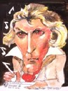 Cartoon: Beethoven takes notes (small) by jjjerk tagged beethoven ludwig van composer germany cartoon caricature music notes deaf deafness