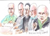 Cartoon: Bellcamp Village Art Group (small) by jjjerk tagged darndale,bellamp,village,art,group,cartoon,caricature,green,blue,pencil,glasses,irish,ireland