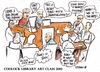 Cartoon: Coolock Library art class 2013 (small) by jjjerk tagged coolock,library,art,group,ireland,irish,cartoon,caricature,artist,painter,drawing,table,debate,agnes,president