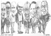 Cartoon: Eight Bell Art Group members (small) by jjjerk tagged bell,art,group,darndale,cartoon,caricature,glasses,irish,ireland,artists,painters