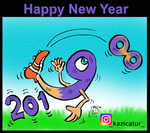 Cartoon: happy new year (medium) by Hossein Kazem tagged happy,new,year