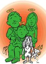 Cartoon: my family in war (small) by Hossein Kazem tagged my,family,in,war