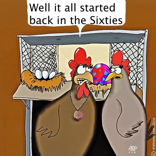 Cartoon: Chicken from the 60s (medium) by tonyp tagged arp,chickens,eggs,arptoons