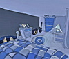 Cartoon: Blue Room (small) by tonyp tagged arp,blue,room,cats,pot,yoyo,arptoons,wacom,dogs,animals,games,cartoons,space,dreams,music,ipad,camera,tonyp,chickens